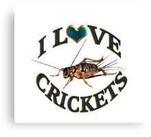 I LOVE CRICKETS PICTURE-PILLOW-TOTE BAG- DRAWSTRING BAGS,CARDS,BOOKS,TEE SHIRTS ECT, Canvas Print
