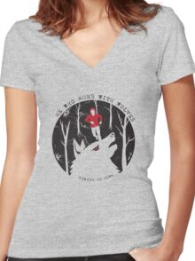 He Who Runs With Wolves Women's Fitted V-Neck T-Shirt