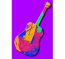 Guitar Shape Wild Paint Brush Colors  Photographic Print