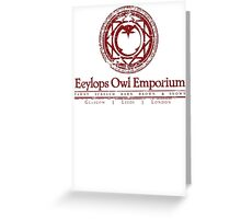 Eeylops Owl Emporium in Red Greeting Card