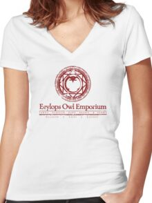 Eeylops Owl Emporium in Red Women's Fitted V-Neck T-Shirt