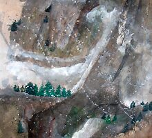 Pine Trees And Snow Mountain by Ava McNamee