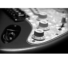 Fender Stratocaster Electronics Detail Black And White Photographic Print