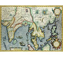 Southern Asian Continent Map 1600s Photographic Print