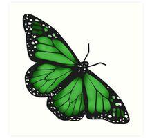 Butterfly Scarf - green Art Print