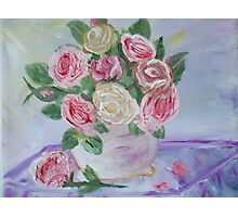My Shabby Pink Roses Photographic Print
