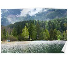 Idyllic Austrian loch with boat house Poster