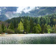 Idyllic Austrian loch with boat house Photographic Print