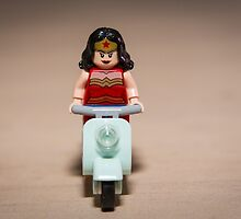 Wonder Woman heads off on Scooter by garykaz