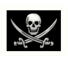 Glassy Pirate Skull & Sword Crossbones  Art Print