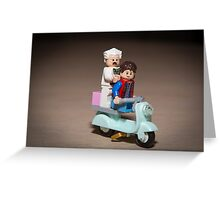 Marty and Doc ride a Scooter Greeting Card