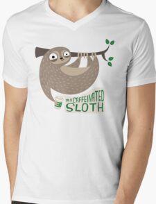 Caffeinated Sloth Mens V-Neck T-Shirt