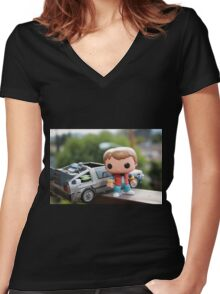 Marty Mcfly Delorean Women's Fitted V-Neck T-Shirt