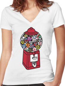 LUCHABALL MACHINE Women's Fitted V-Neck T-Shirt