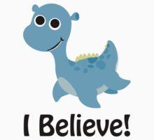 I Believe! Cute Blue Nessie One Piece - Short Sleeve