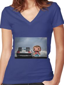 Outatime with Marty McFly Women's Fitted V-Neck T-Shirt