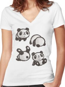 Rolling panda Women's Fitted V-Neck T-Shirt