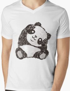 Cute Panda Mens V-Neck T-Shirt