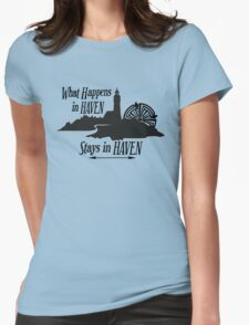 What Happens In Haven Lighthouse Black Logo Womens Fitted T-Shirt