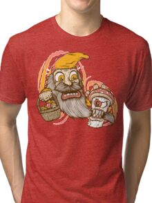 Gnome being attacked by killer shroom! Tri-blend T-Shirt