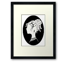 Elegant  Woman Silhouette, Vanity , Beauty black white Framed Print