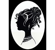 Vintage Fashion Silhouette, Old Fashioned Vanity , Beauty black white Photographic Print