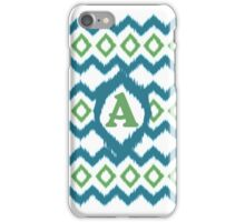 IKAT Pattern Blue and Green Monogram Letter A iPhone Case/Skin