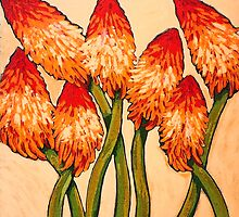 Red Hot Pokers by marlene veronique holdsworth