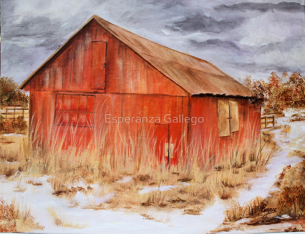 the red barn acrylic painting by esperanza gallego