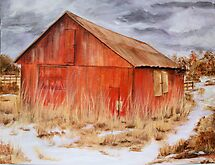 The Red Barn- Acrylic Painting by Esperanza Gallego
