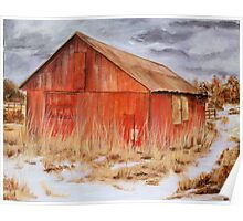 The Red Barn- Acrylic Painting Poster