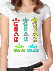 Gear Glass Horizontal Vertical Design Women's Fitted Scoop T-Shirt