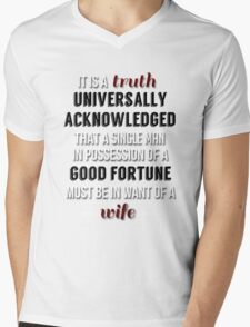 Truth universally acknowledged Mens V-Neck T-Shirt