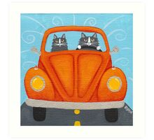 Father & Son Cat in VW Bug Art Print