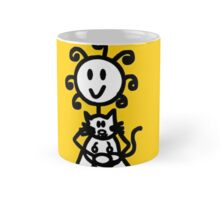 The Girl with the Curly Hair Holding Cat - Yellow Mug