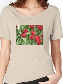 Red Tulips , Throw Pillow , Tote bag, Duvet, prints Women's Relaxed Fit T-Shirt