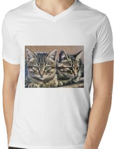 mother and child wild cats Mens V-Neck T-Shirt