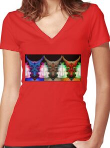 THREE'S A CROWD OF ONE Women's Fitted V-Neck T-Shirt