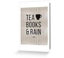 Tea Books & Rain Greeting Card