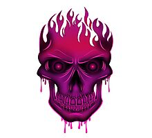 Flame Skull - Hot Pink Photographic Print