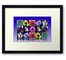 Voices of Spring - Floral Collage in Blue Reflection Frame Framed Print