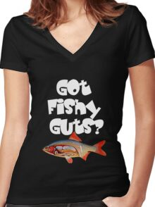 White Got fishy guts Women's Fitted V-Neck T-Shirt