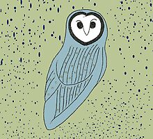 Blue Owl on Speckled Green by Anabel Williams