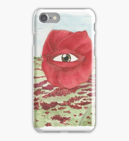 In a field of blind poppies, one eye is king iPhone Case/Skin