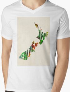 New Zealand Typographic Watercolor Map T-Shirt