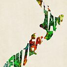 New Zealand Typographic Watercolor Map by A. TW