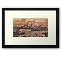In The Pink (35 Exposure HDR Pano)  - Sydney Harbour, Australia - The HDR Experience Framed Print
