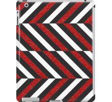 Modern gray white red faux glitter zigzag iPad Case/Skin