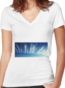 Blue Sky Women's Fitted V-Neck T-Shirt
