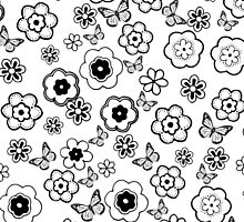 Cute black white butterfly abstract flowers by Maria Fernandes